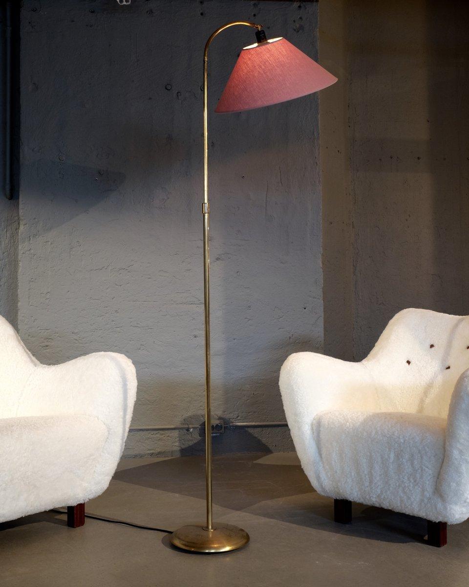 Messing Stehlampe von Nordiska Kompaniet, 1950er