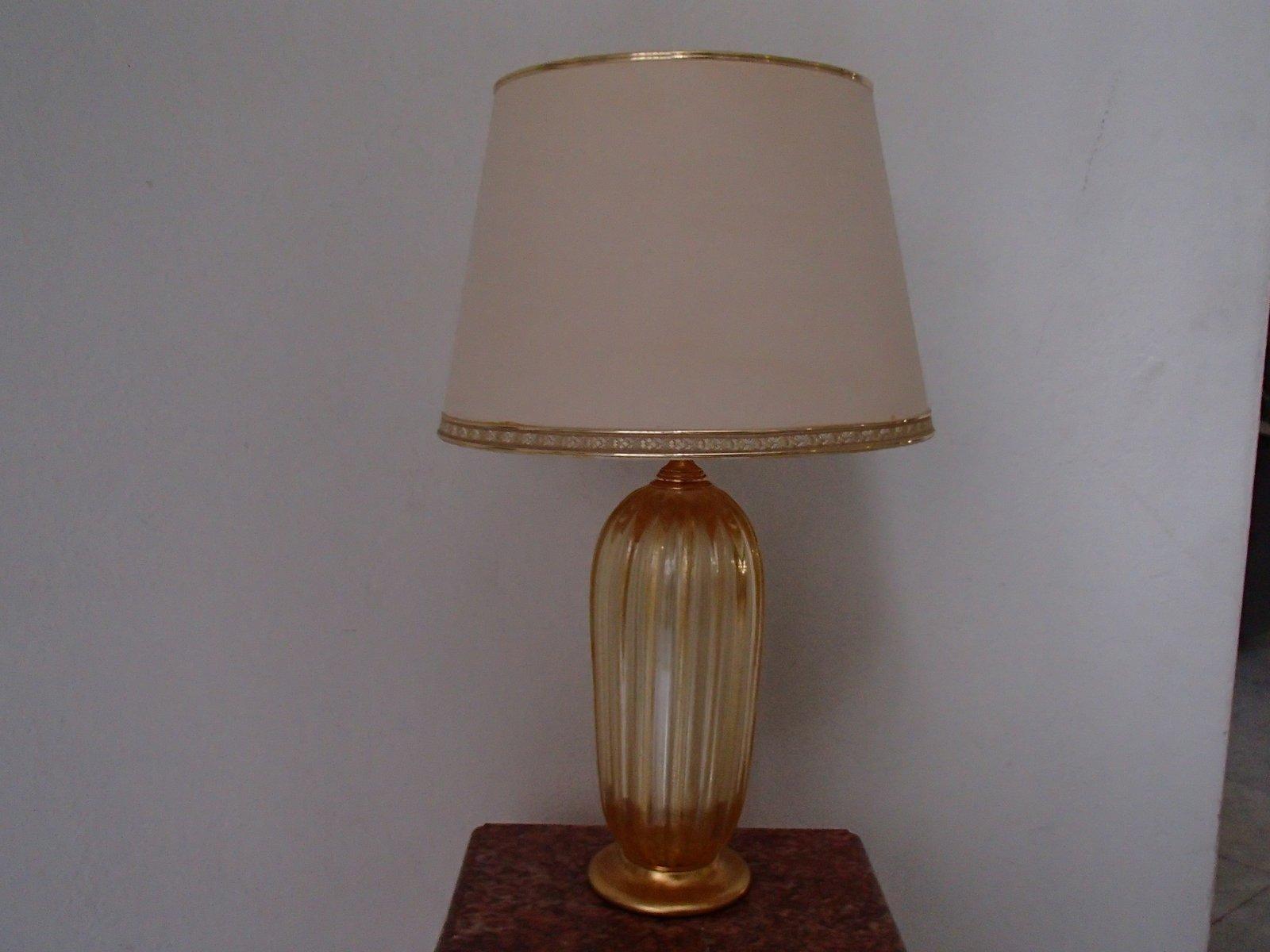 Große goldene Tischlampen aus Murano Glas, 1960er, 2er Set