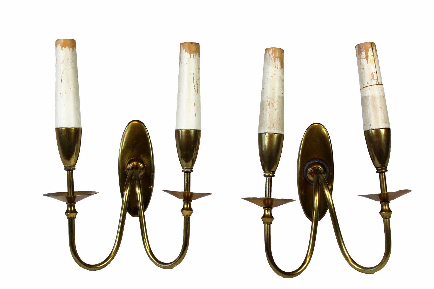 Venezianische Messing Wandlampen, 1930er, 2er Set