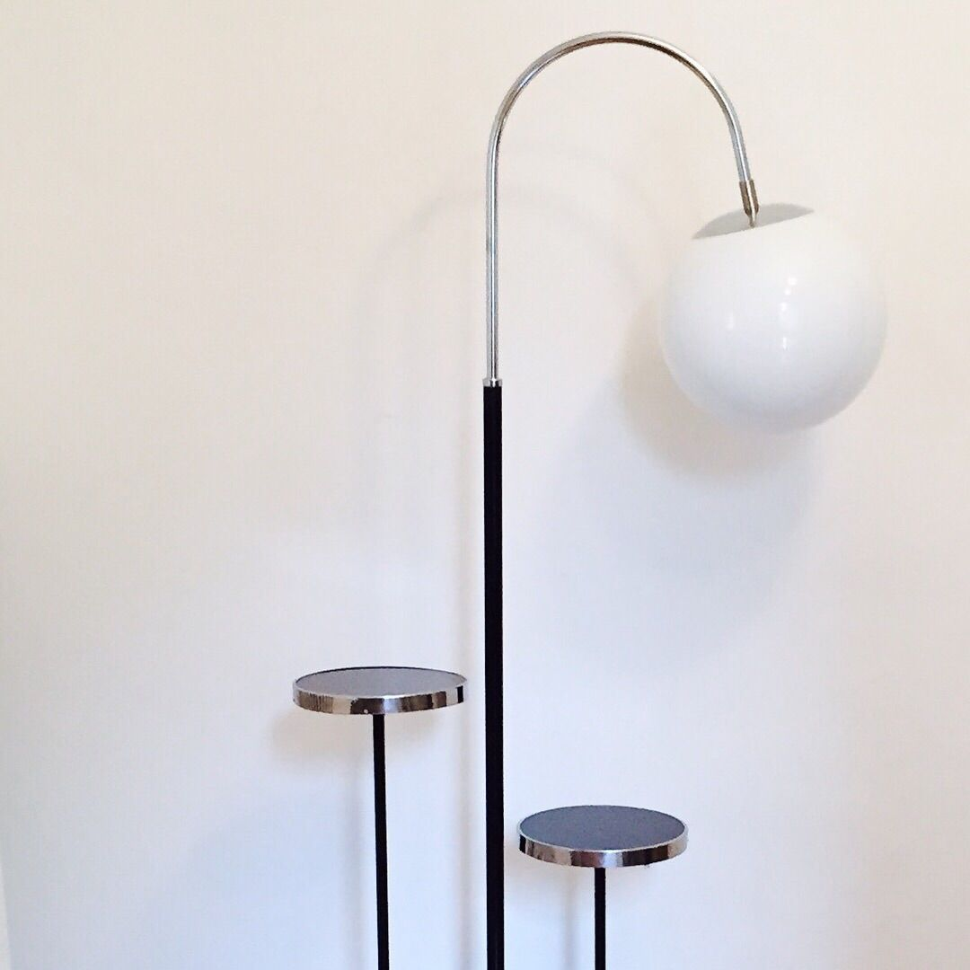 Vintage bauhaus floor lamp with 2 small tables by jindich halabala vintage bauhaus floor lamp with 2 small tables by jindich halabala aloadofball