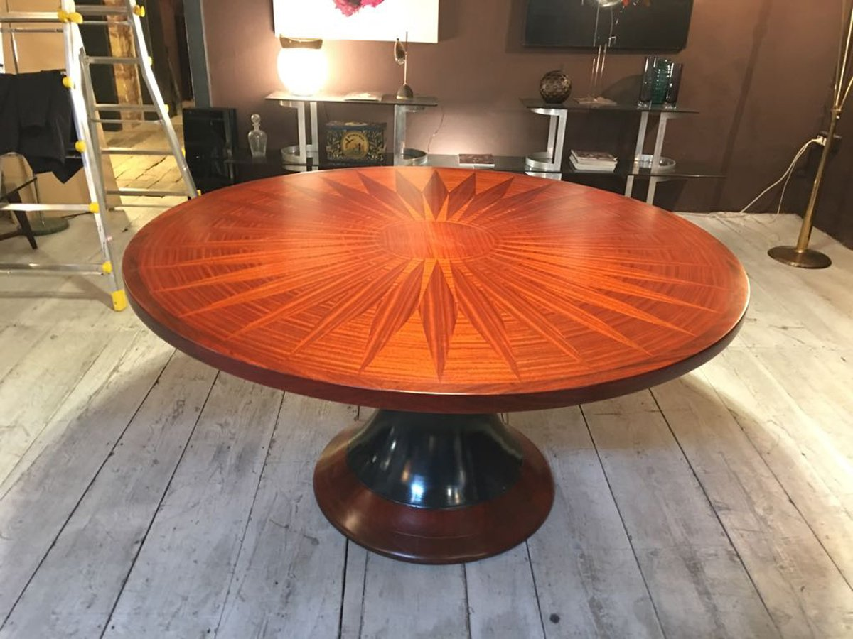 round dining table with wood inlay 1950s for sale at pamono. Black Bedroom Furniture Sets. Home Design Ideas