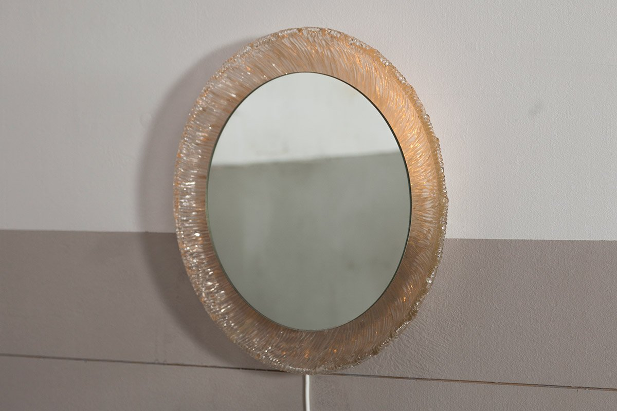 Runder beleuchteter Vintage Spiegel in Sonnen Optik von Hillebrand | Bad > Spiegel fürs Bad | Beige | Spiegelglas | Hillebrand Lighting
