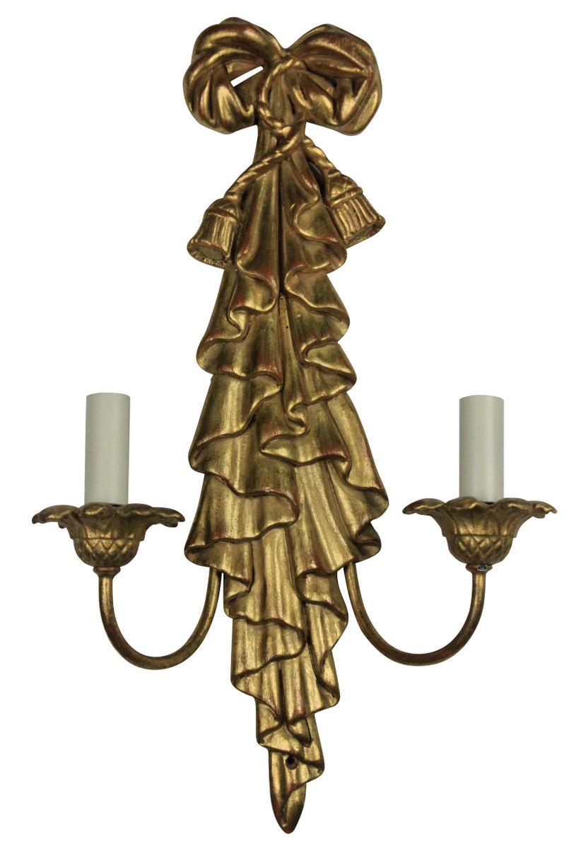 Vergoldete Mid-Century Wandleuchten aus Holz, 2er Set