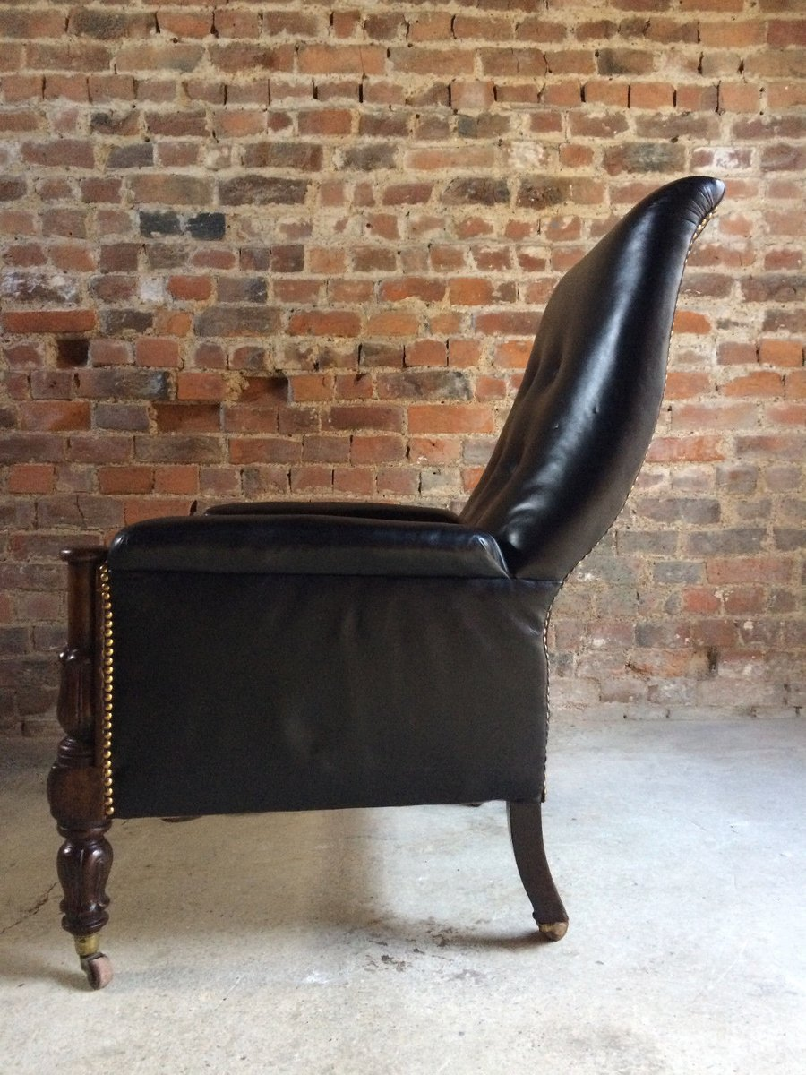 antiker william iv sessel aus leder und mahagoni 1830 bei pamono kaufen. Black Bedroom Furniture Sets. Home Design Ideas
