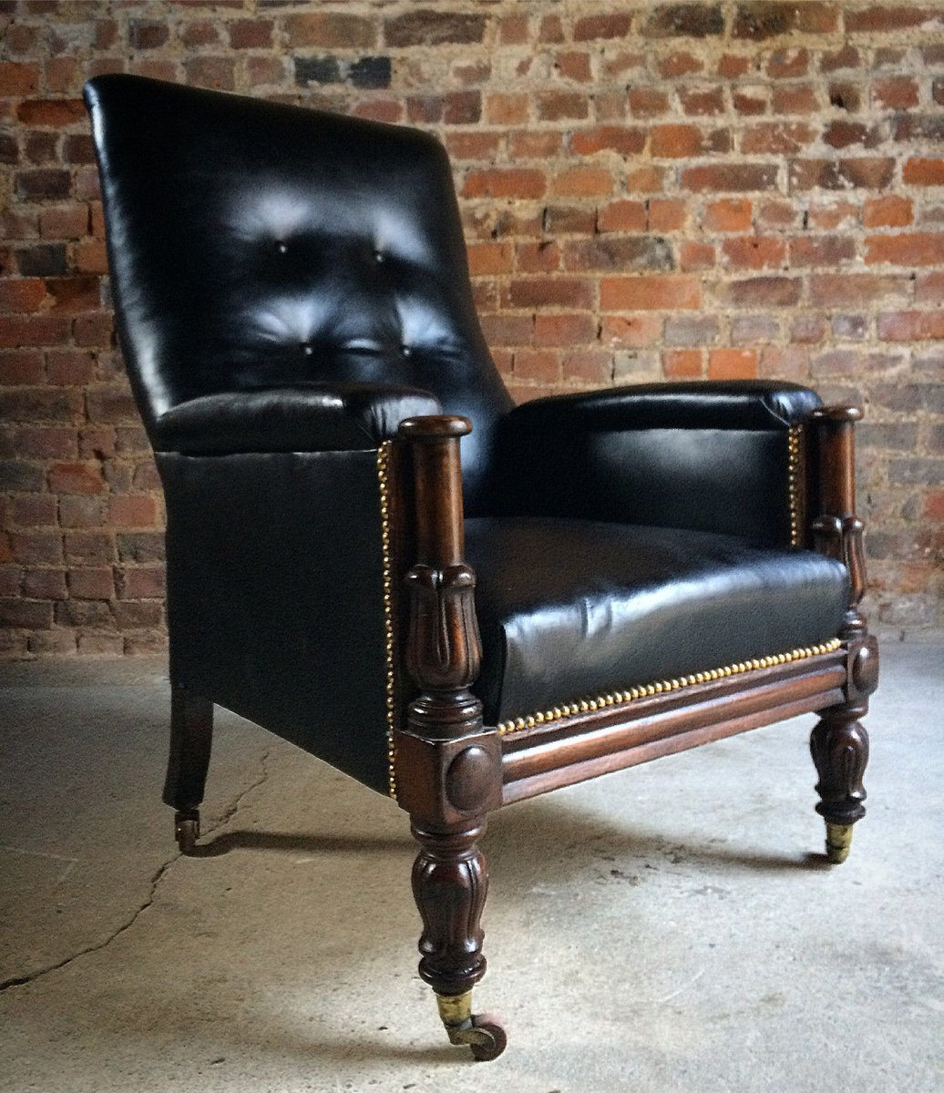 antiker william iv sessel aus leder und mahagoni 1830 bei. Black Bedroom Furniture Sets. Home Design Ideas