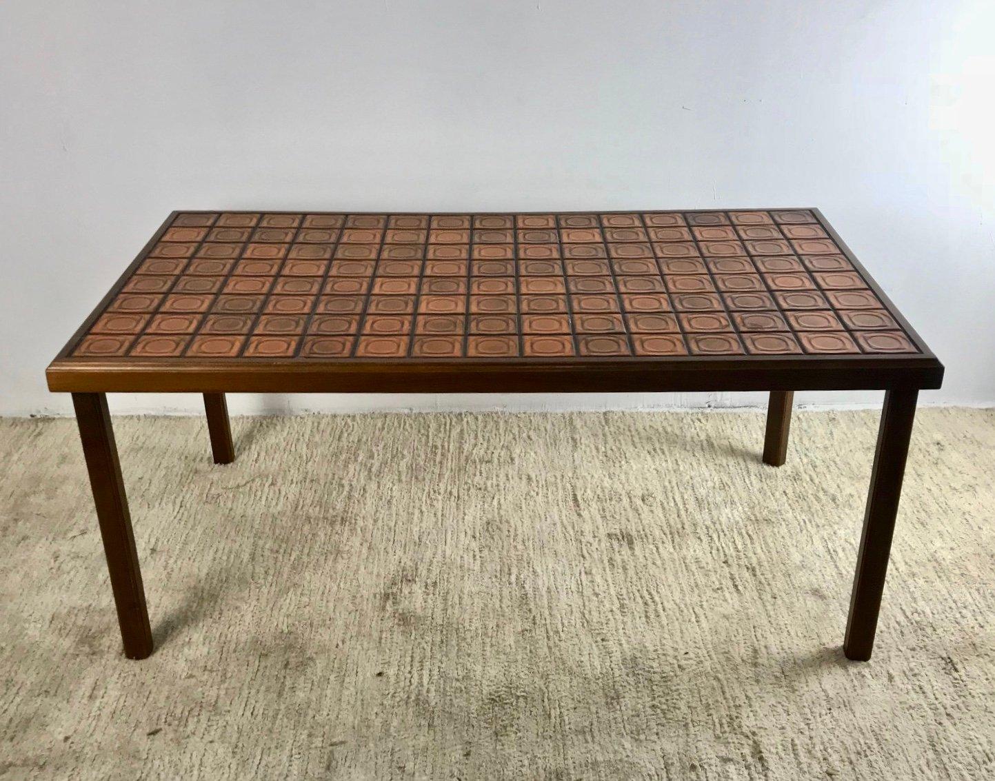 schwedischer tisch aus eichenholz mit mosaik 1950er bei pamono kaufen. Black Bedroom Furniture Sets. Home Design Ideas