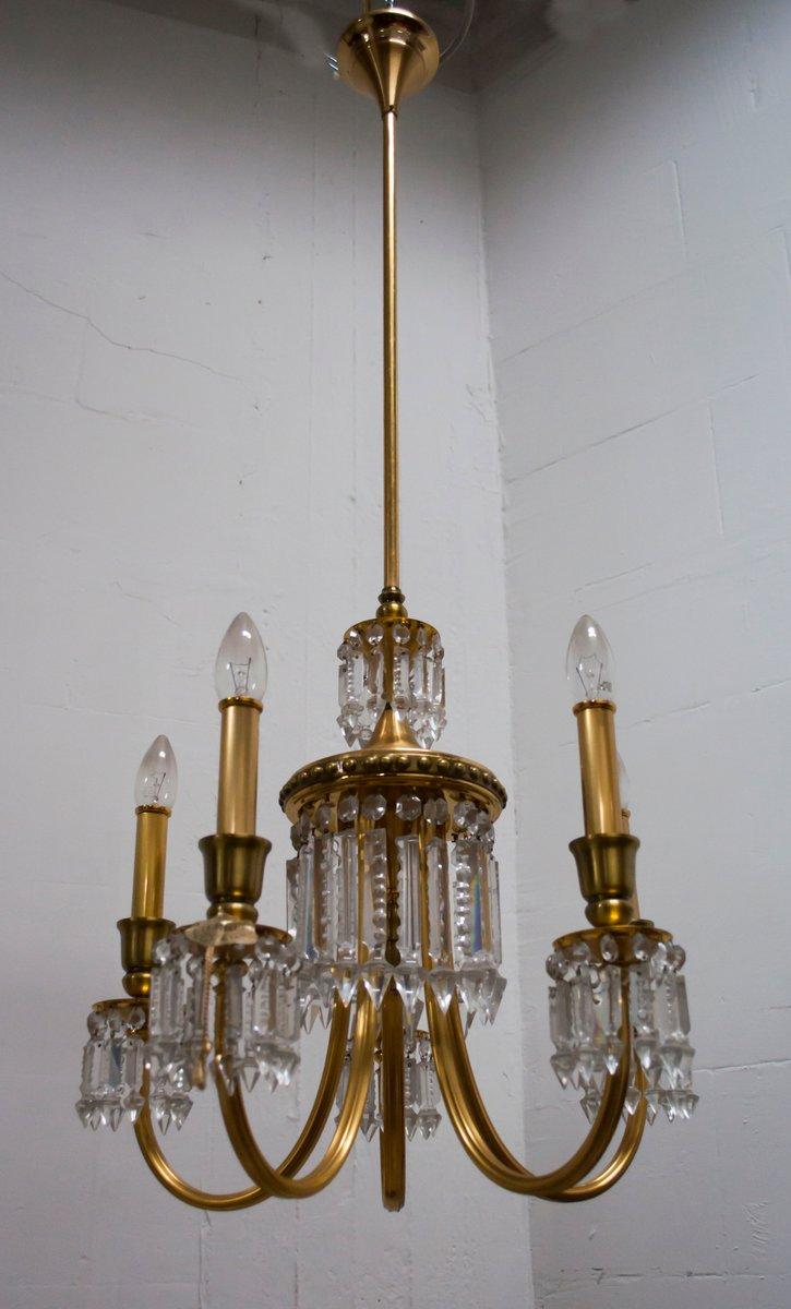 Gold Plated Brass & Crystals Kronleuchter von Lumi Milano, 1950er