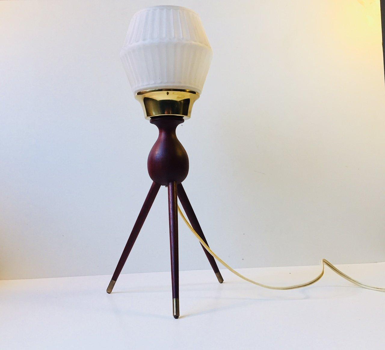 Mid century danish tripod table lamp in teak brass glass 1950s mid century danish tripod table lamp in teak brass glass 1950s aloadofball Image collections