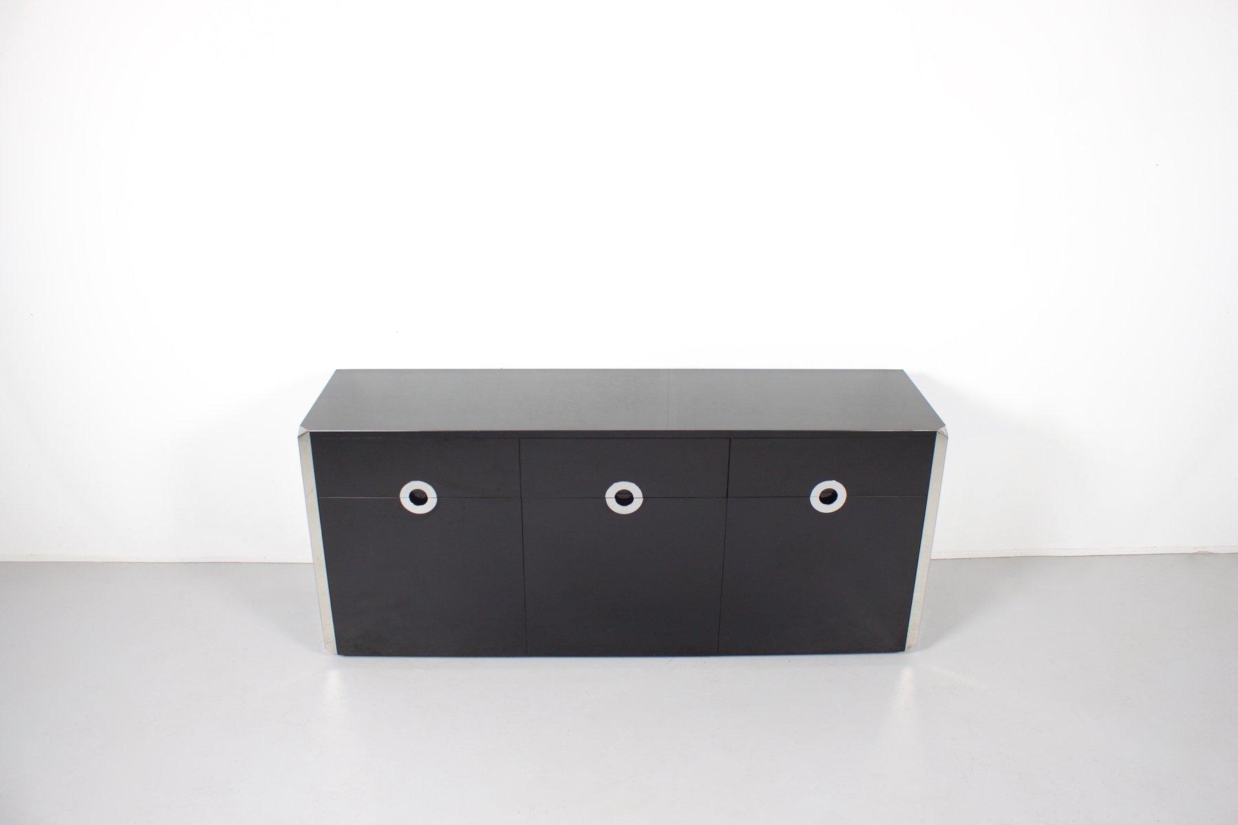 Sideboard aus Schwarzem Holz und Chrom von Willy Rizzo für Mario Sabot...