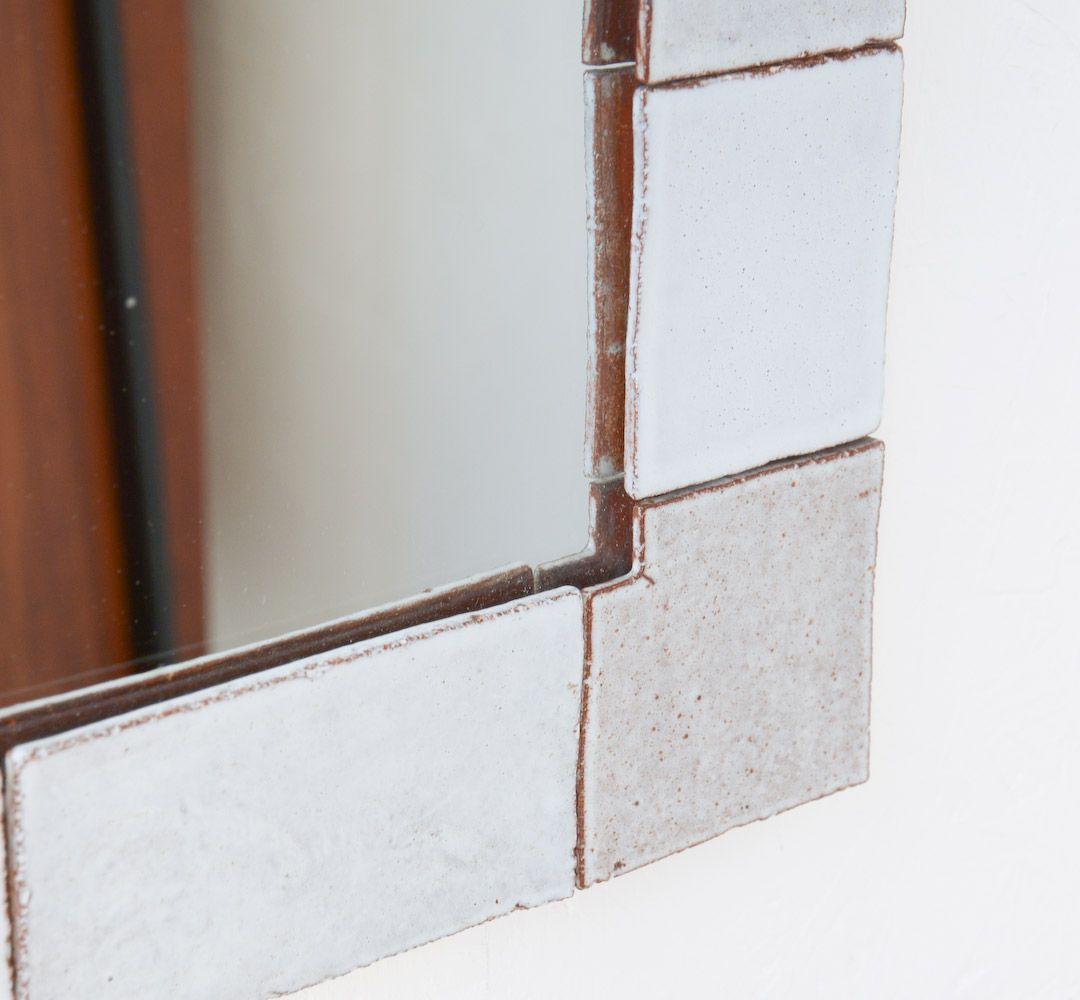vintage spiegel mit wei en fliesen von amphora bei pamono kaufen. Black Bedroom Furniture Sets. Home Design Ideas