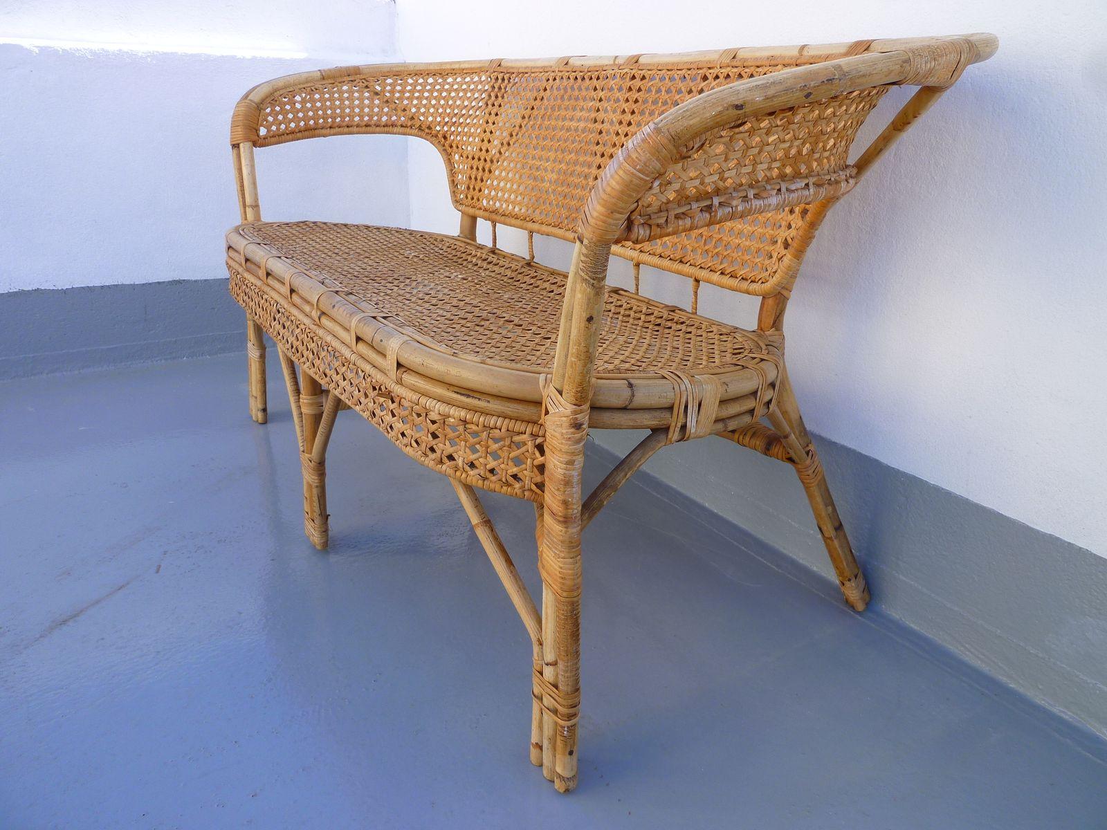 banc vintage en jonc et rotin en vente sur pamono. Black Bedroom Furniture Sets. Home Design Ideas