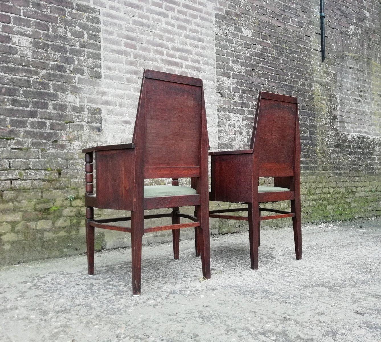 antike st hle der amsterdamer schule 1910er 2er set bei pamono kaufen. Black Bedroom Furniture Sets. Home Design Ideas