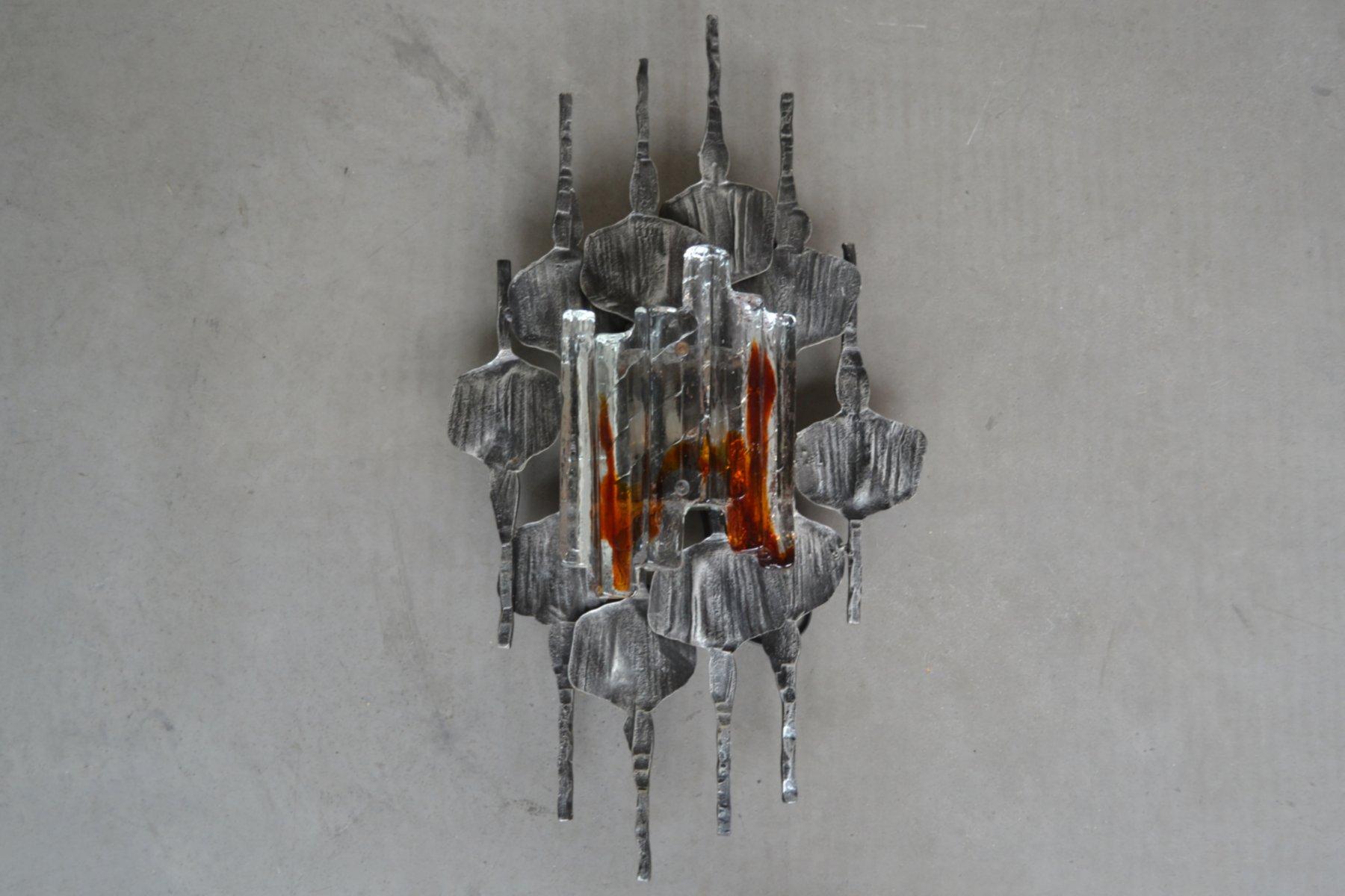 Mid-Century Wandleuchte aus Murano Glas im Brutalistischen Stil, 1960e...