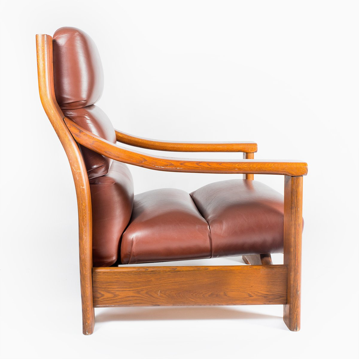 Vintage Wooden Armchair with Leather Cover by Zbyněk ...