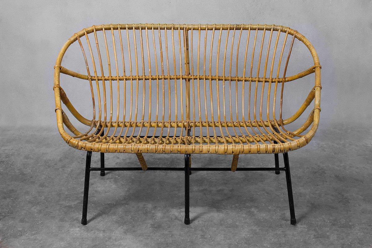 canap en osier pour roh noordwolde 1950s en vente sur pamono. Black Bedroom Furniture Sets. Home Design Ideas