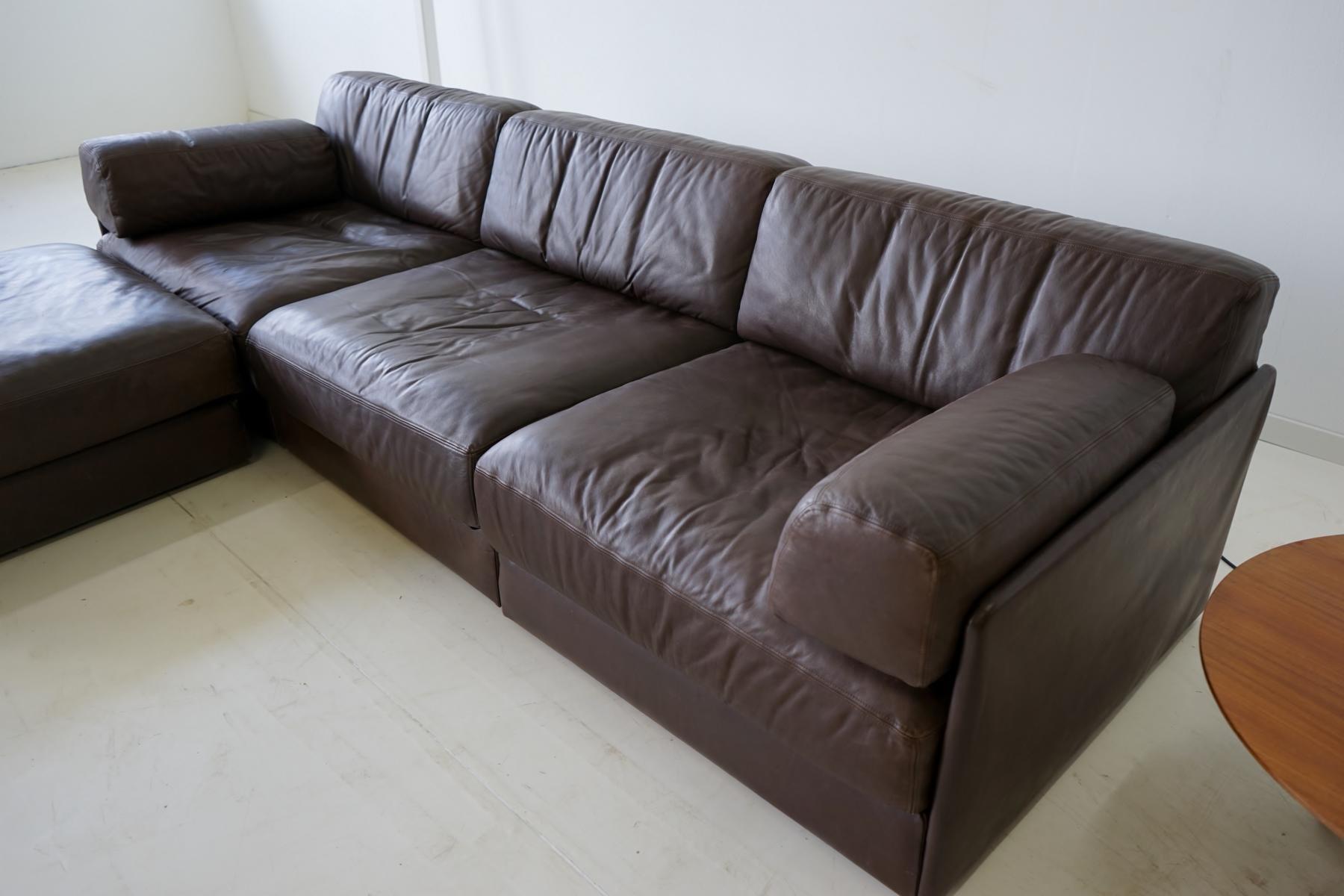 Modell DS 76 3er Sofa & Ottomane Set aus Leder von de Sede