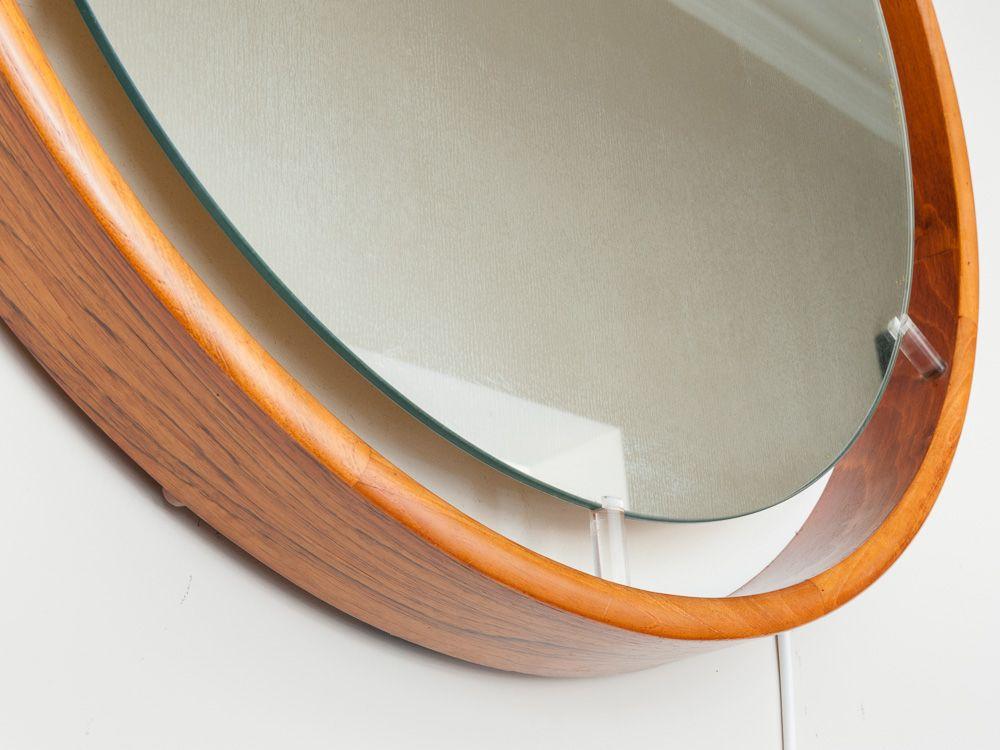 gro er runder d nischer wandspiegel mit beleuchtung aus palisander und plexiglas 1970er bei. Black Bedroom Furniture Sets. Home Design Ideas