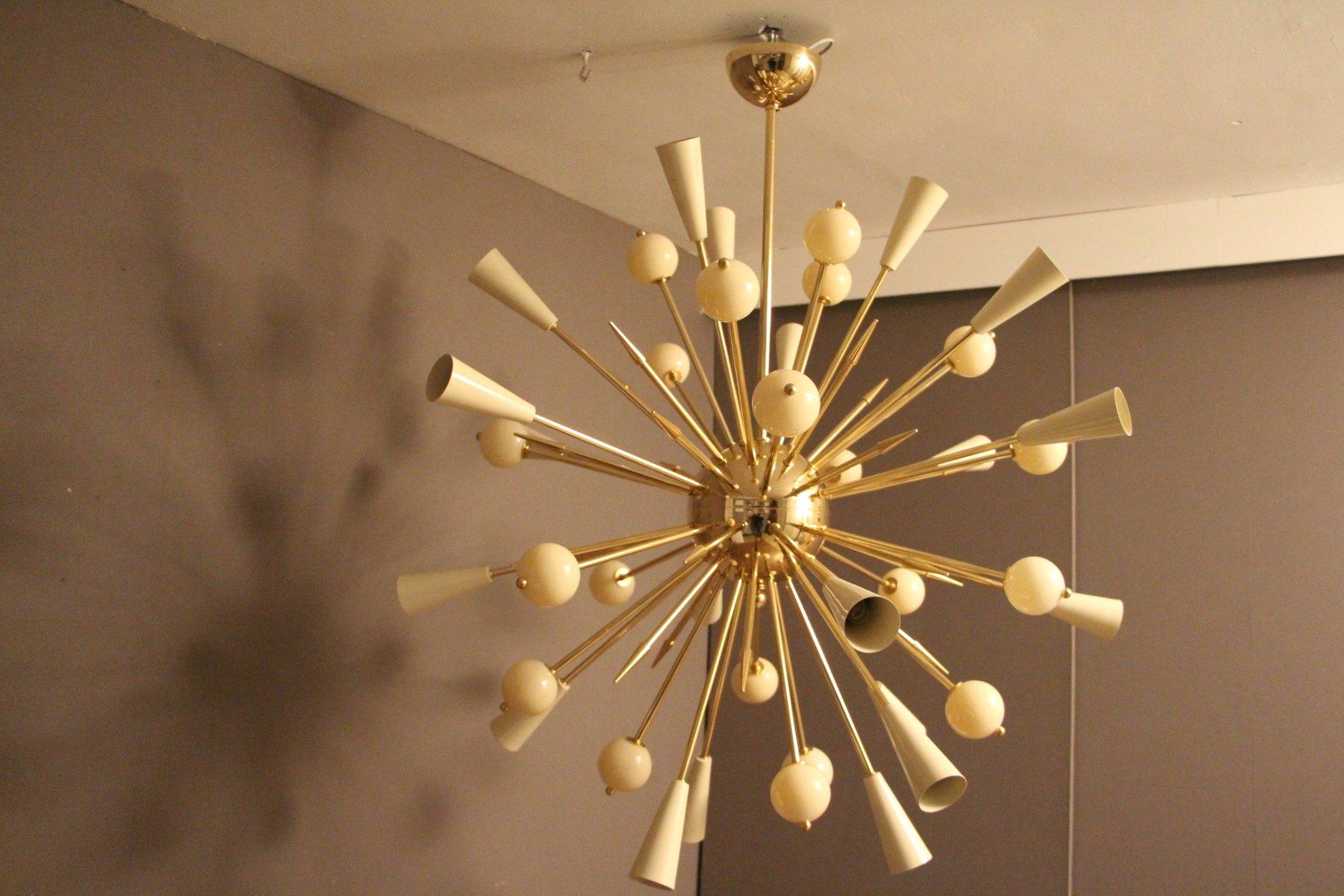 Sputnik Kronleuchter aus beigefarben Murano Glas und Messing, 1980er