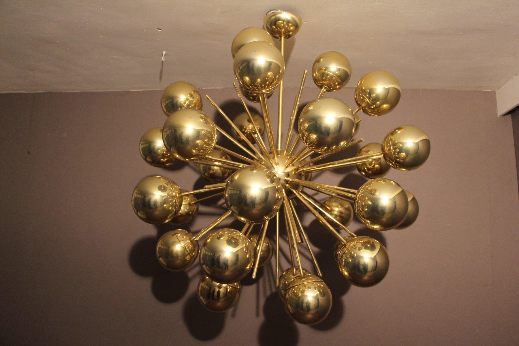 Sputnik Kronleuchter aus Messing und goldenem Murano Glas, 1980er