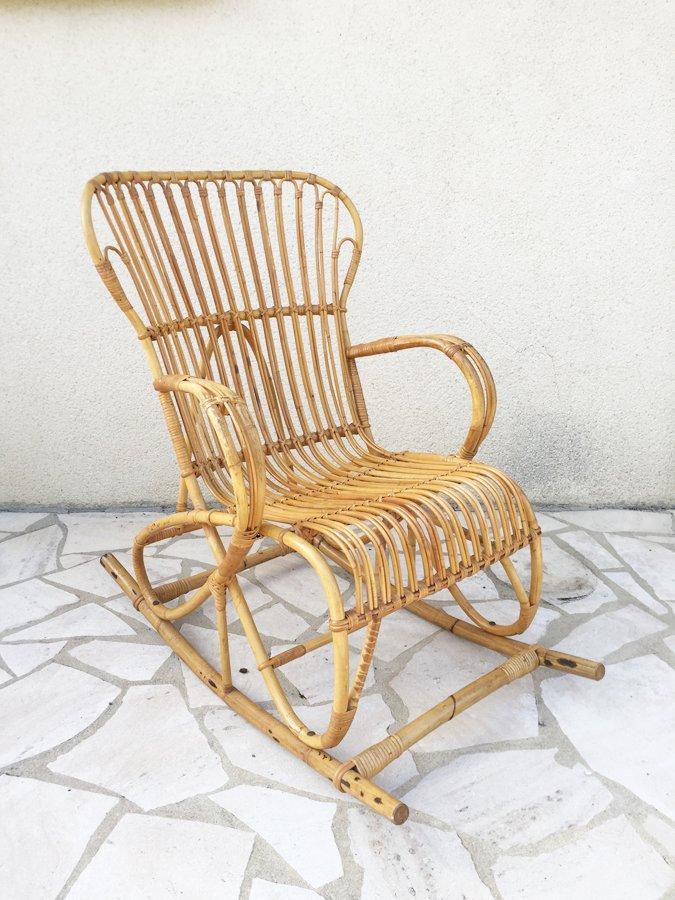 Sedia a dondolo in vimini anni 39 60 in vendita su pamono - Sedia a dondolo vimini ...