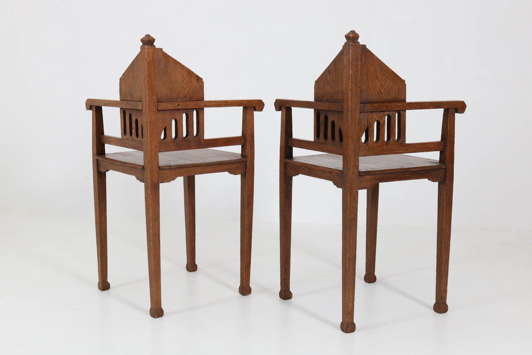 niederl ndische arts crafts eckst hle aus eichenholz 1900er bei pamono kaufen. Black Bedroom Furniture Sets. Home Design Ideas
