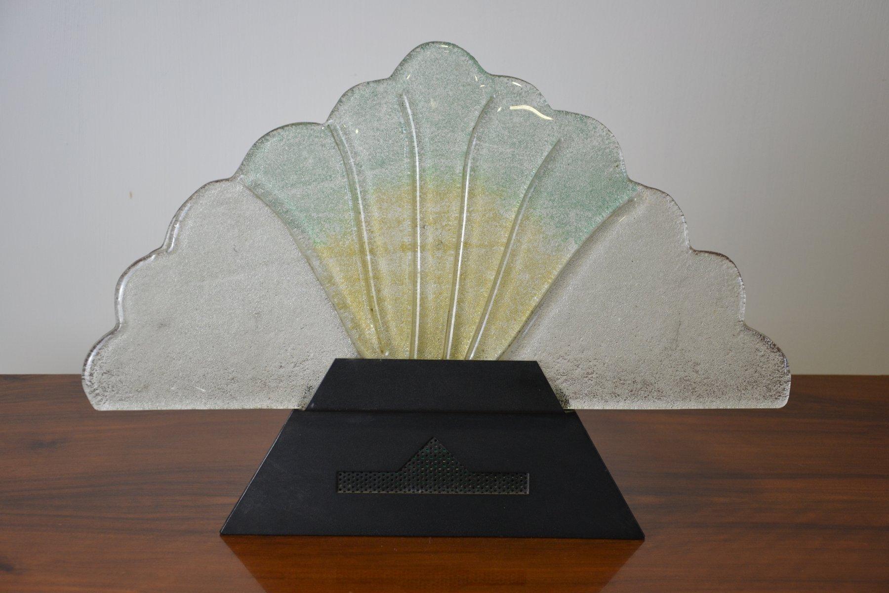 Vintage Tischlampe in Form eines Fächers aus Murano Glas