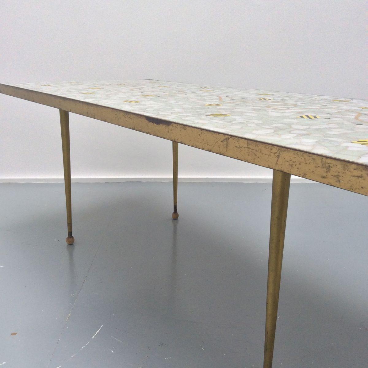 schweitzer tisch mit mosaik und verzierungen aus messing 1950er bei pamono kaufen. Black Bedroom Furniture Sets. Home Design Ideas