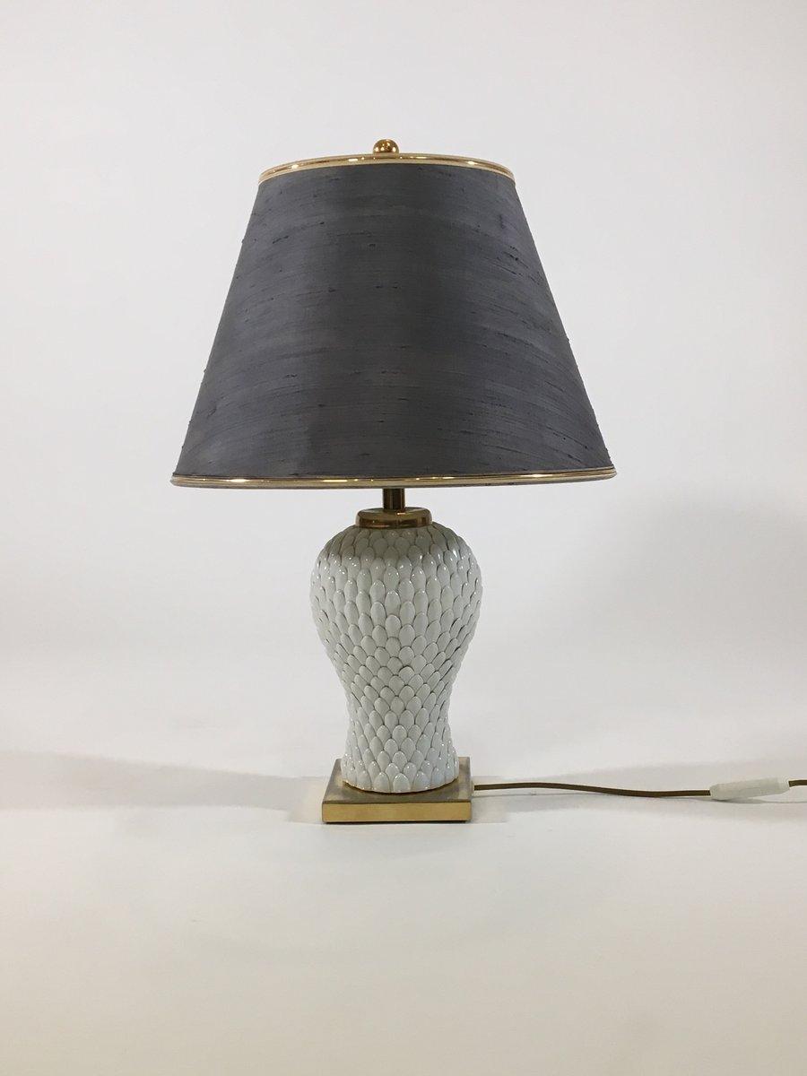Italienische Tischlampe aus Keramik und Messing, 1970er