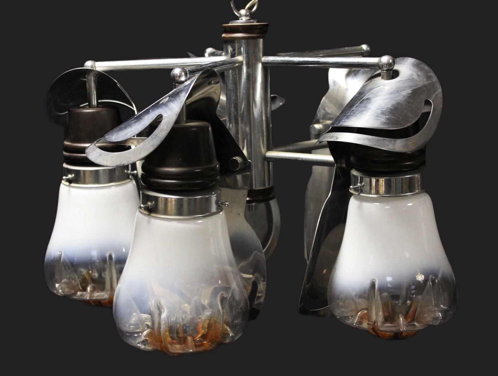 Kronleuchter mit 5 Leuchten aus verchromtem Murano Glas von Mazzega, 1...