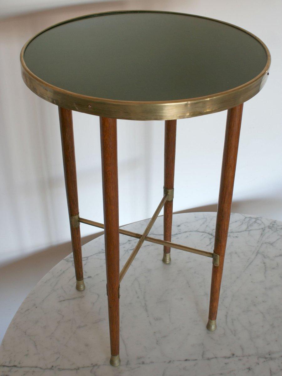 oak brass side table 1900s for sale at pamono. Black Bedroom Furniture Sets. Home Design Ideas