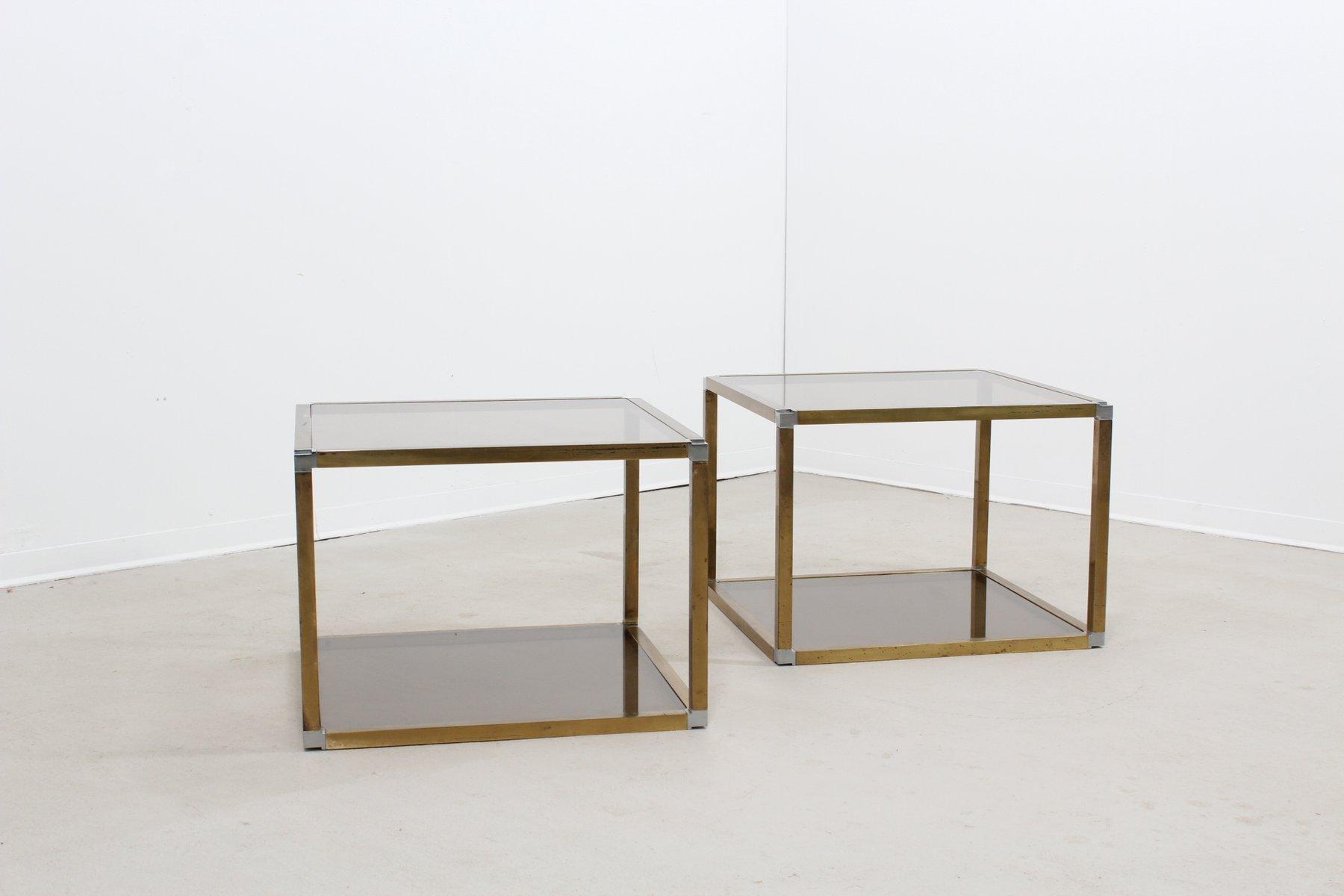 Messing und Glas Couchtische von Romeo Rega, 1970er, 2er Set