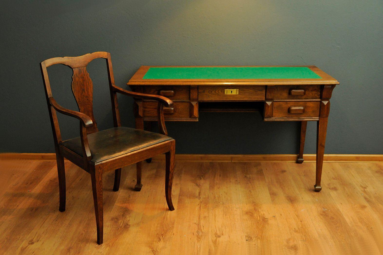 art deco stil schreibtisch und stuhl 1950er bei pamono kaufen. Black Bedroom Furniture Sets. Home Design Ideas