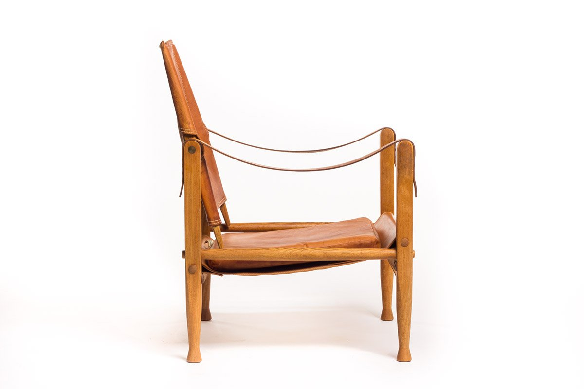 vintage leder safari stuhl von kaare klint f r rud. Black Bedroom Furniture Sets. Home Design Ideas