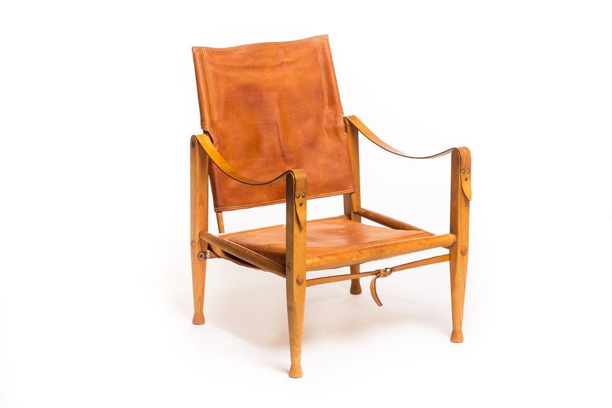 Vintage leder safari stuhl von kaare klint f r rud for Stuhl designklassiker vintage