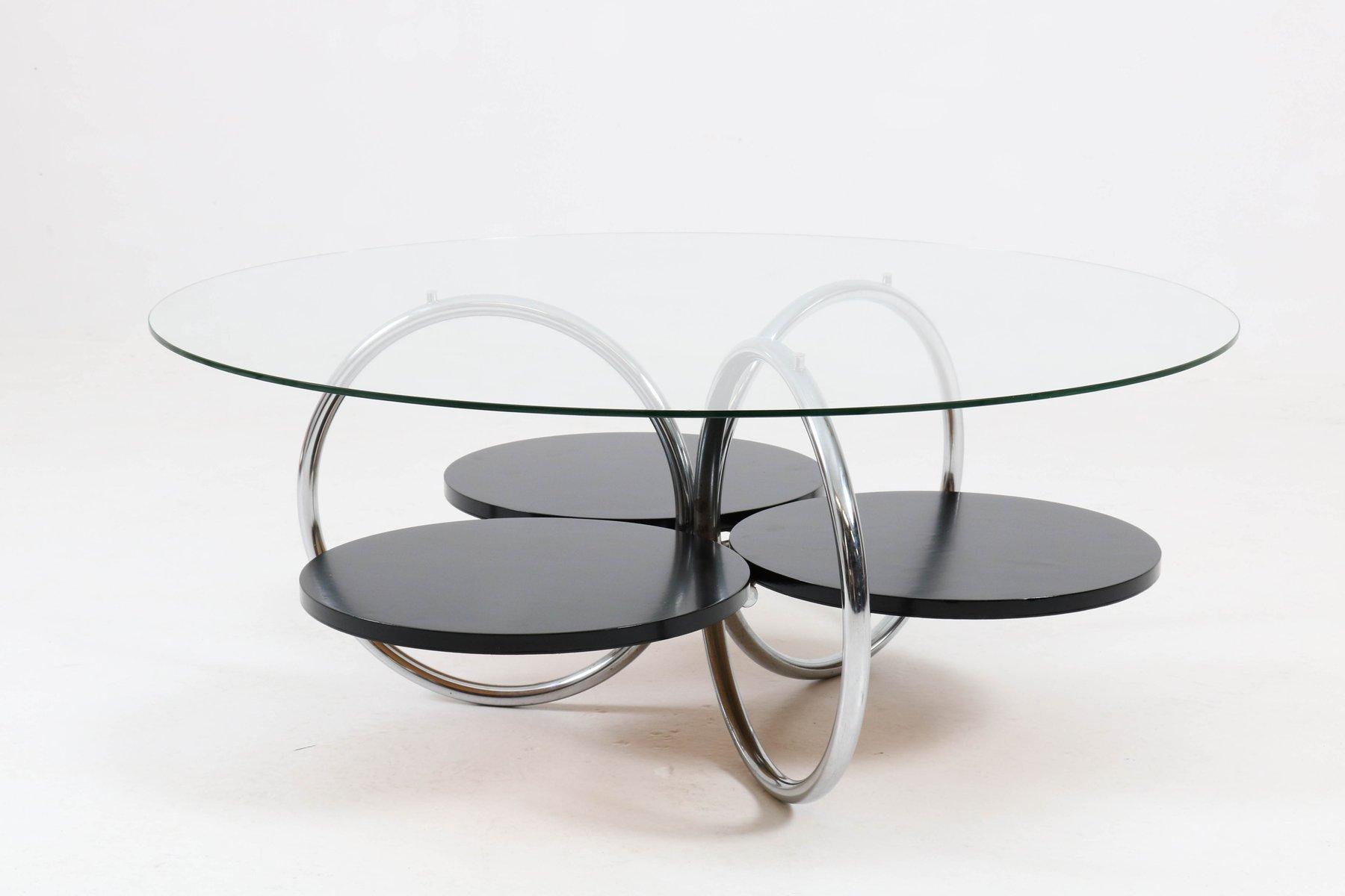 Tavolini In Vetro E Acciaio : Tavolino da caffè mid century in acciaio tubolare e vetro francia