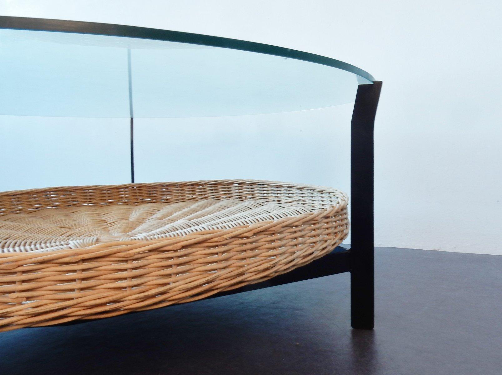 mid century couchtisch aus metall und glas bei pamono kaufen. Black Bedroom Furniture Sets. Home Design Ideas