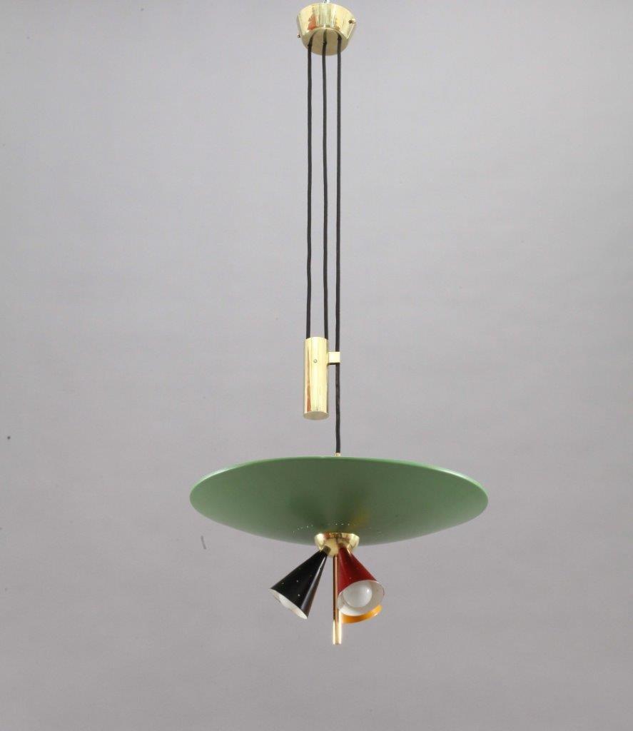 Italienische Vintage Sliding Light Hängelampe von Stilnovo, 1950er