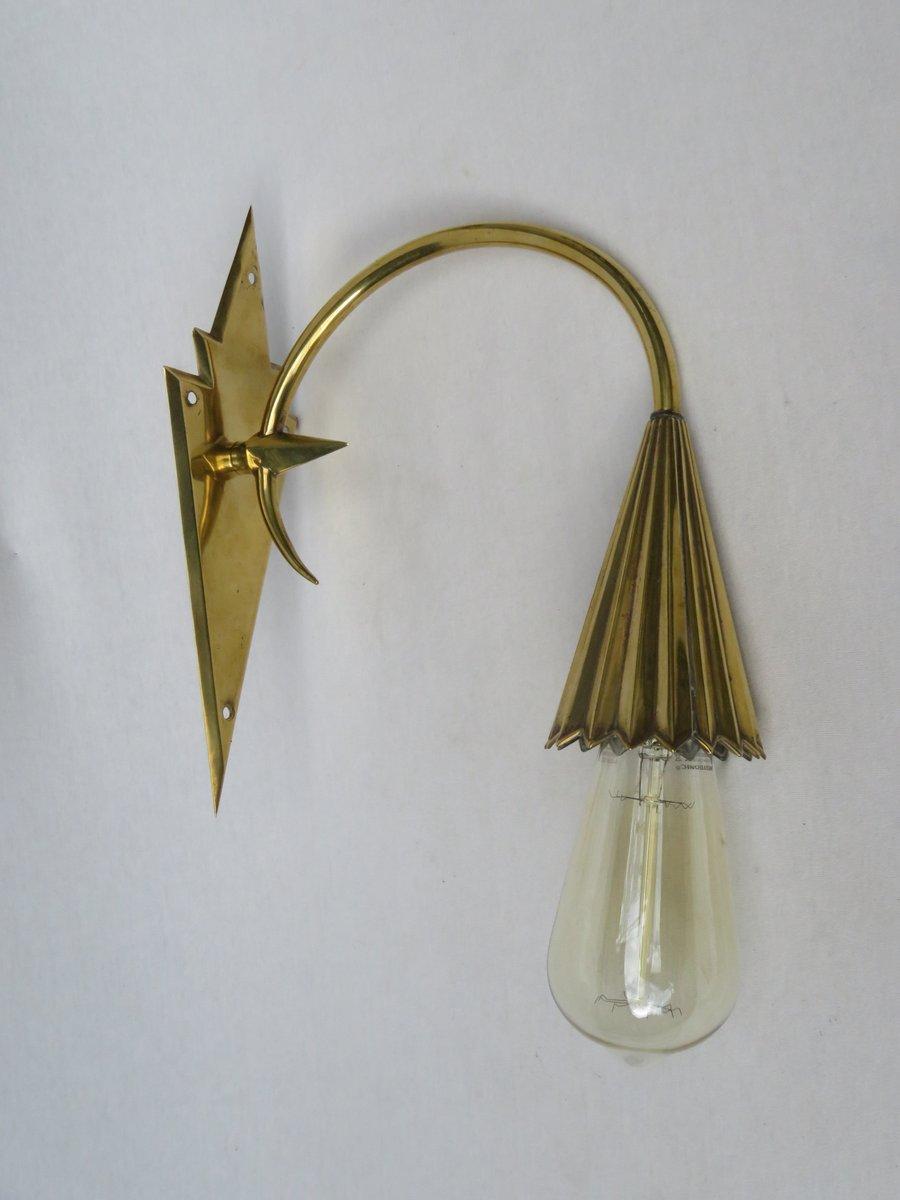 Vintage Jugendstil Messing Wandlampe