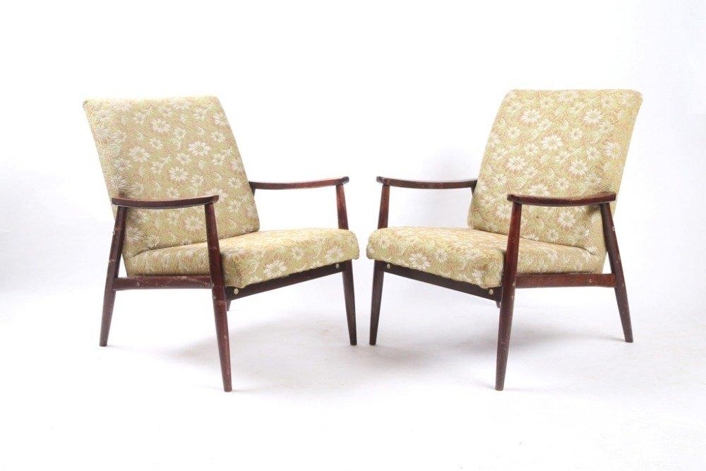 Tschechische Vintage Florale Sessel, 1970er, 2er Set