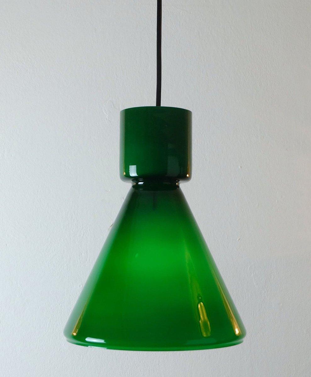 Deutsche Green Glas Hängelampe Light von Limburg, 1970er