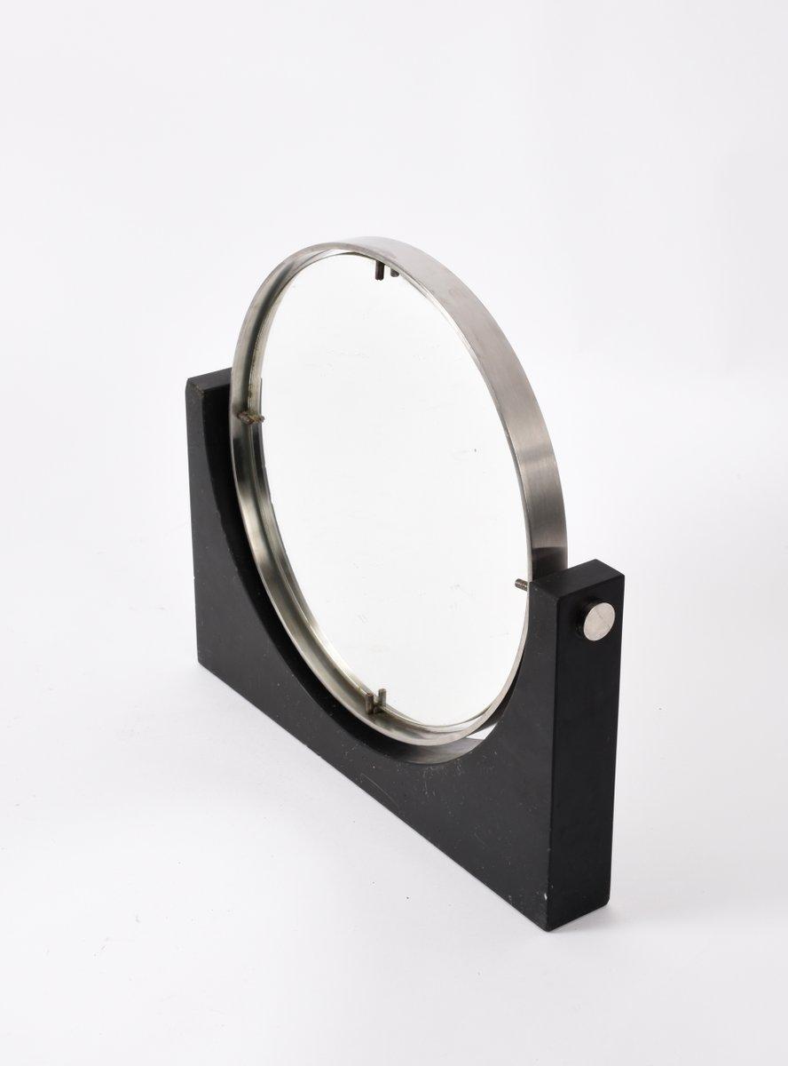 runder mid century tisch spiegel aus schwarzem marmor und stahl bei pamono kaufen. Black Bedroom Furniture Sets. Home Design Ideas