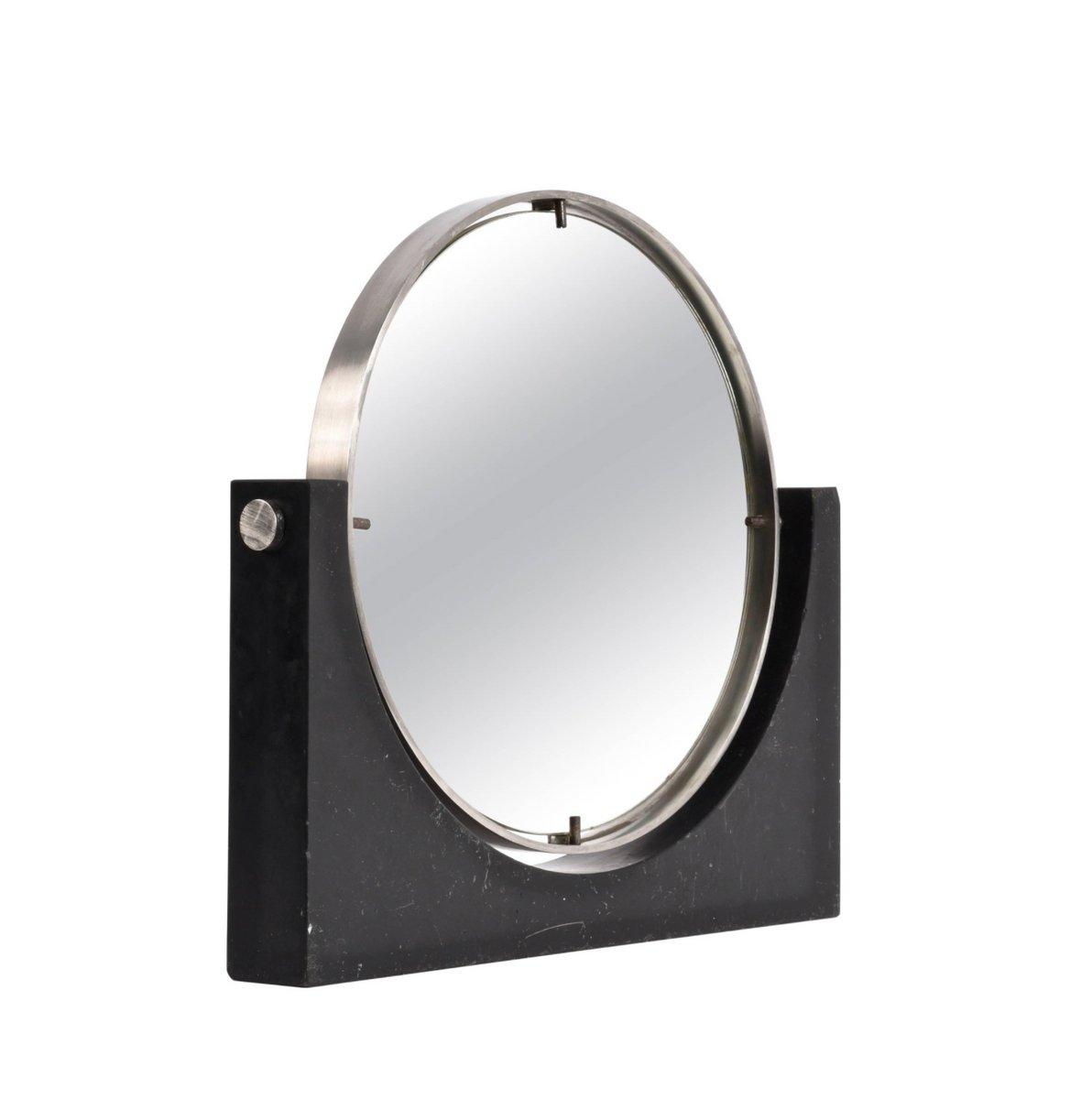 Mid Century Modern Round Table Mirror In Black Marble Steel Bei