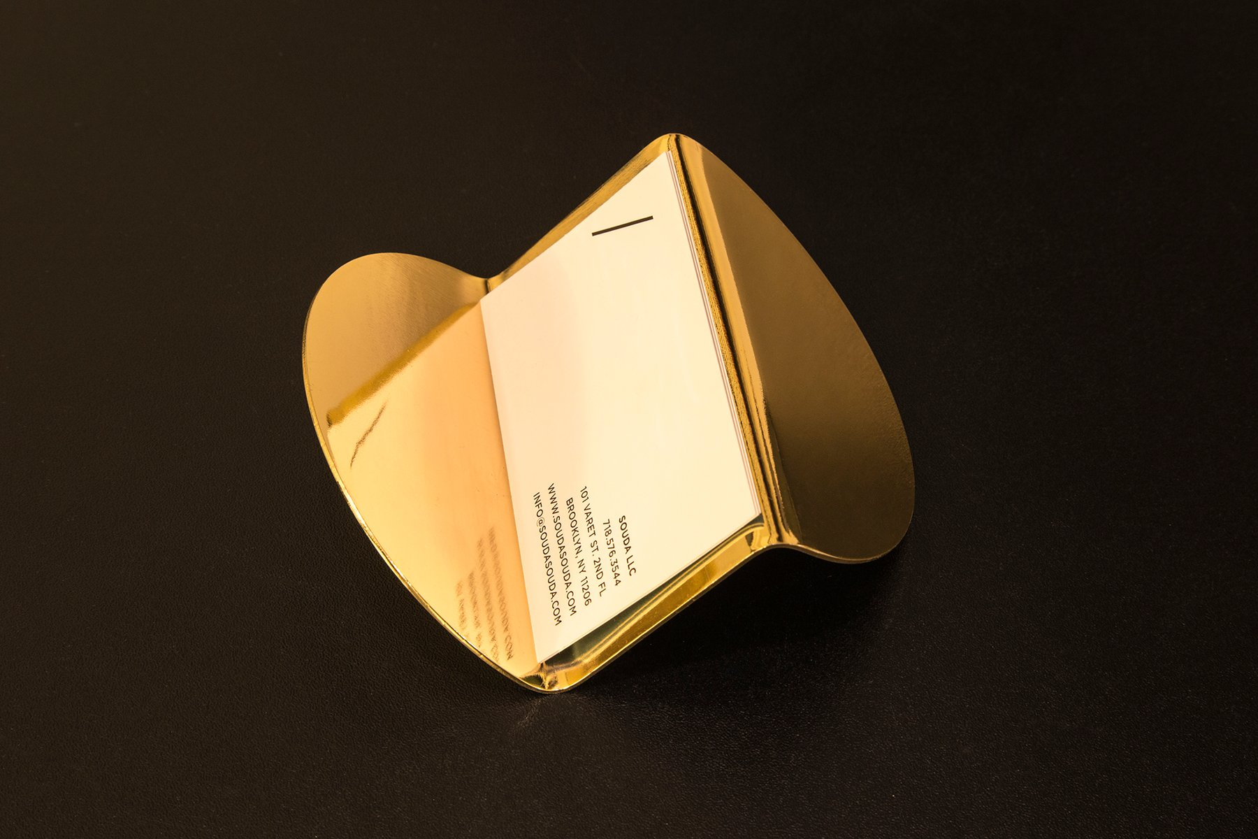 Brass Wave Business Card Holder by Nina Cho for Souda for sale at Pamono