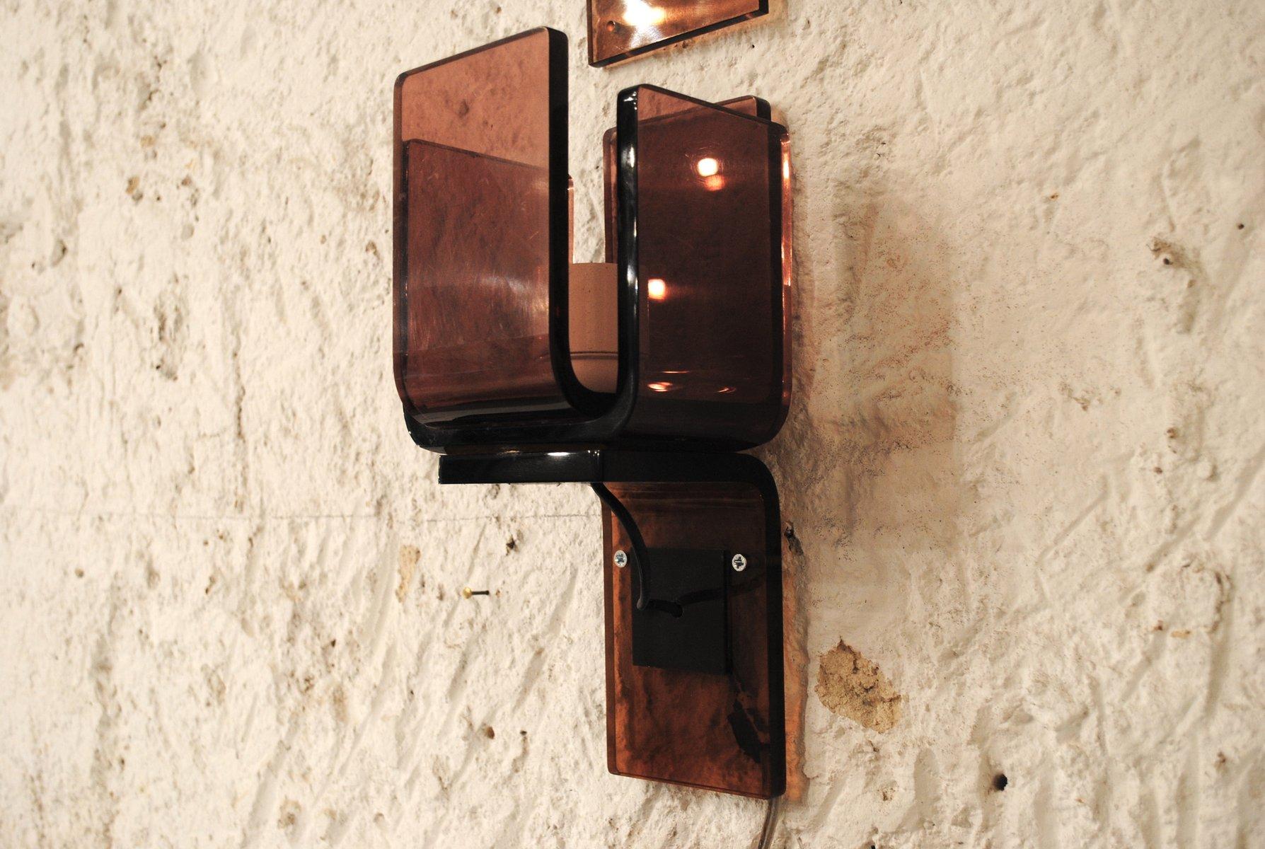 Bunte Vintage Plexiglas Wandlampen, 3er Set
