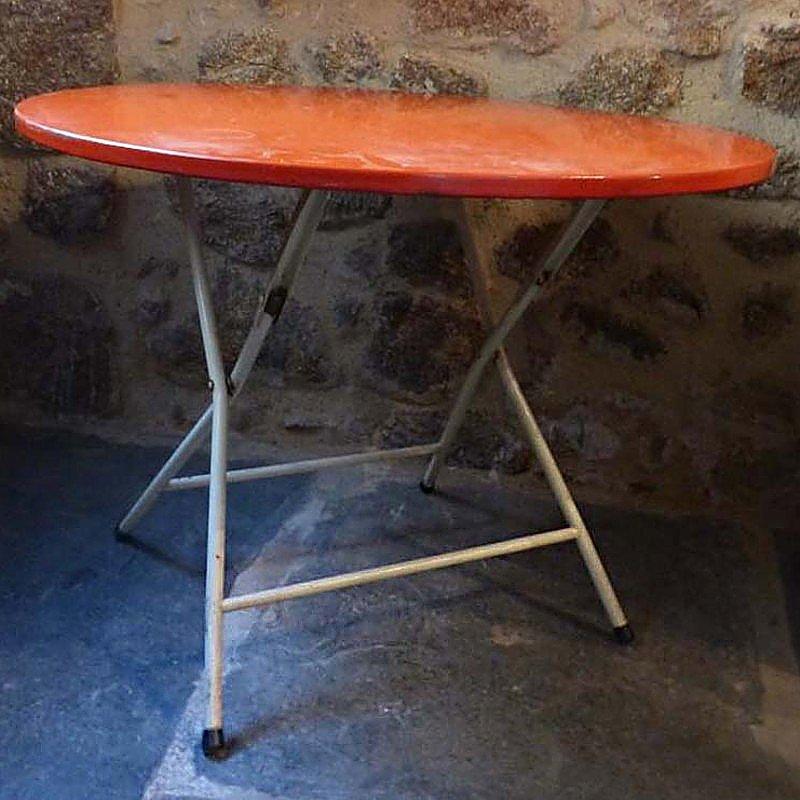 klappbarer franz sischer tisch aus rotem metall bei pamono kaufen. Black Bedroom Furniture Sets. Home Design Ideas