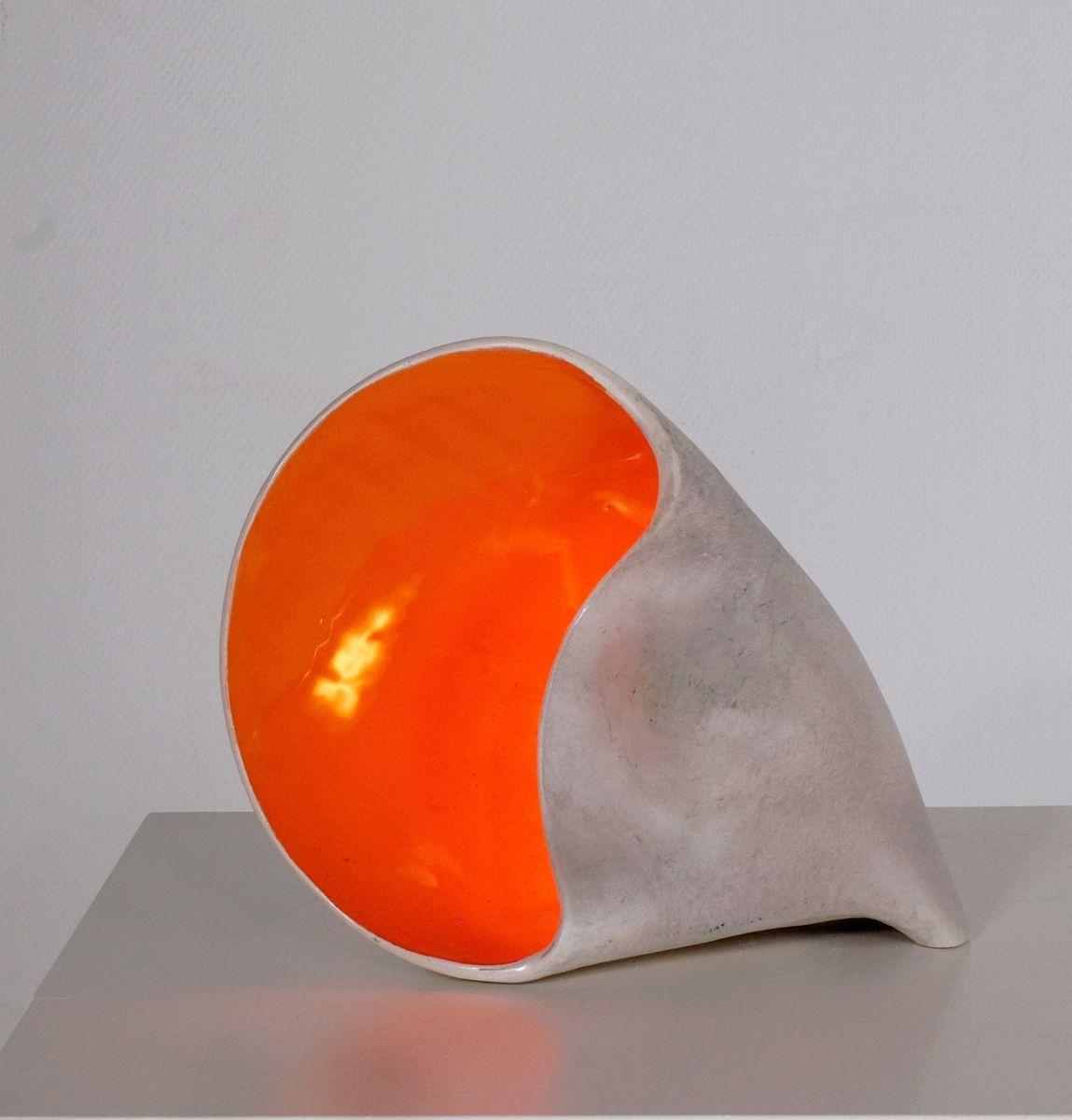 Französische Glasierte Keramik Muschel Lampe, 1960er