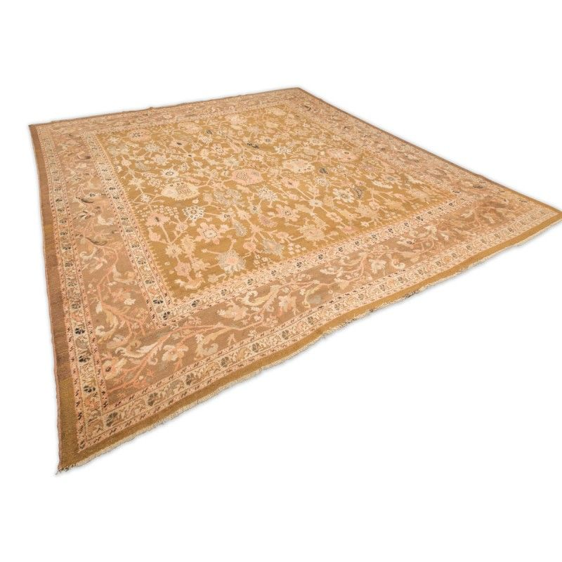 handgearbeiteter teppich aus creme und lachsfarbener wolle von ziegler 1890s bei pamono kaufen. Black Bedroom Furniture Sets. Home Design Ideas