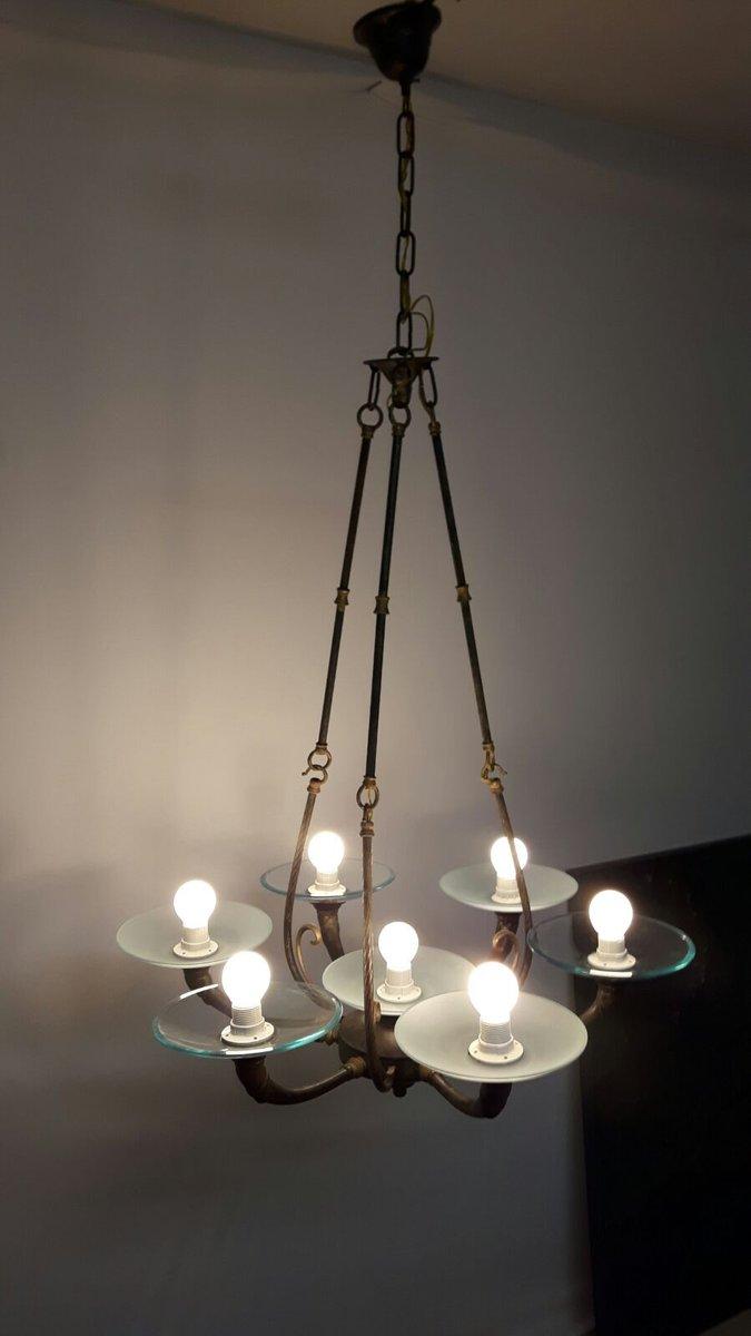 kronleuchter im art deco stil mit 7 leuchten 1960er bei pamono kaufen. Black Bedroom Furniture Sets. Home Design Ideas