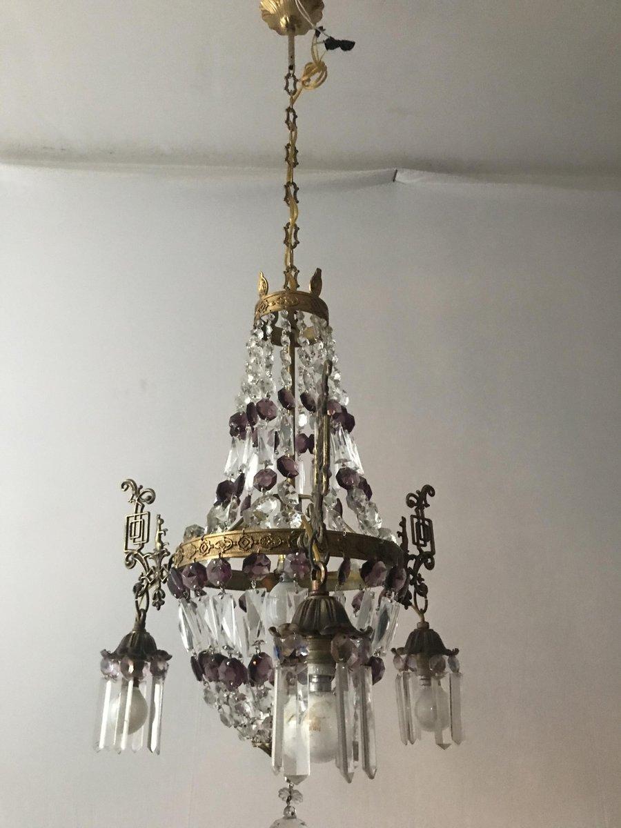 Vintage Kristallglas Kronleuchter, 2er Set