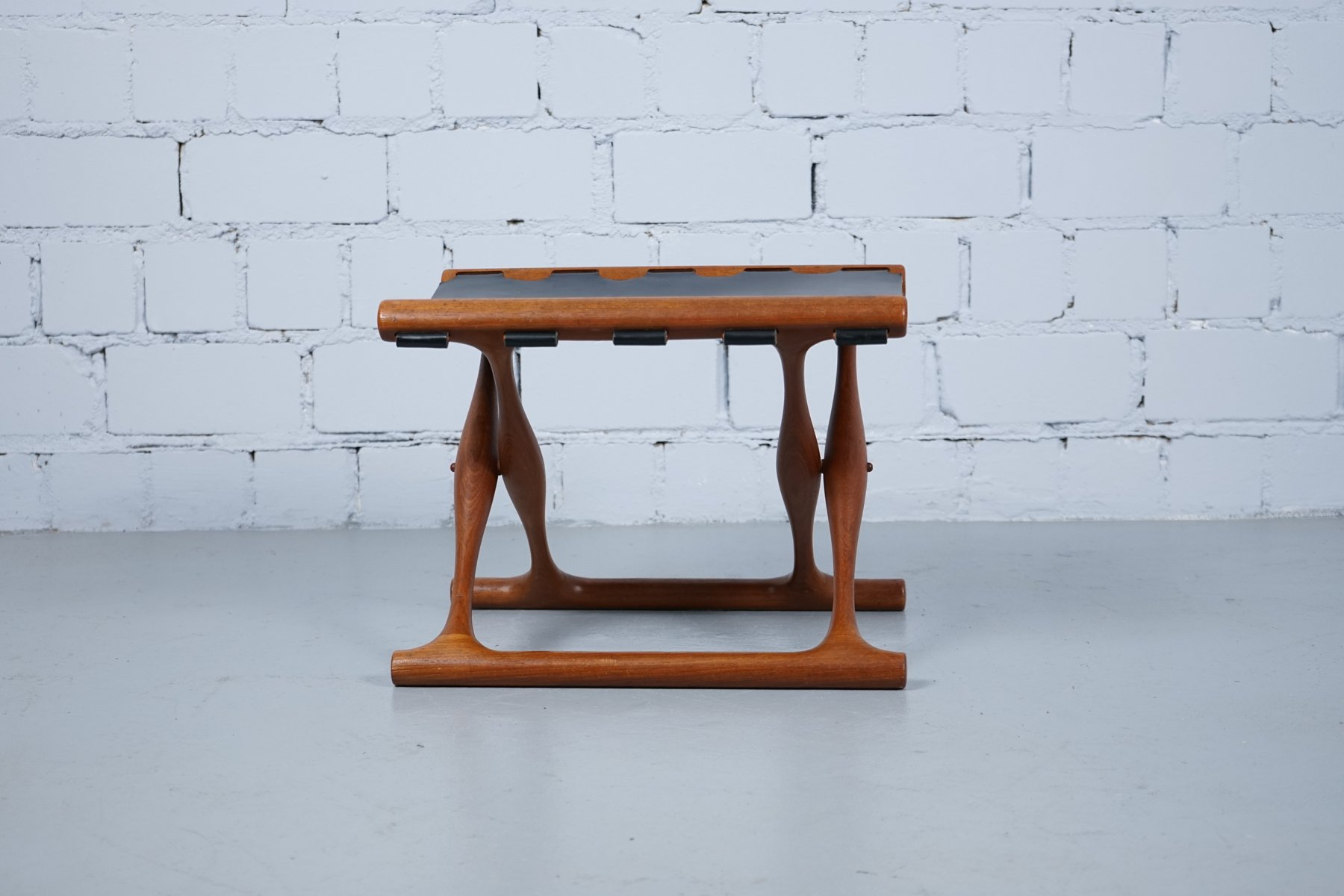 Vintage Teak and Leather PH 43 Foldable Stool by Poul Hundevad for ...